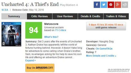 《神秘海域4》成MC评分最高PS4独占游戏