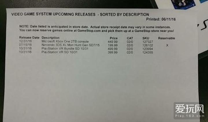 Xbox One新机型泄露:2TB硬盘 售价449美元
